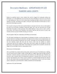 Decorative Mailboxes - ADVANTAGES OF LED PARKING AREA LIGHTS.doc